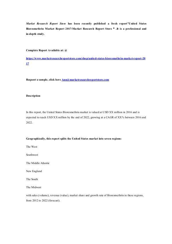 United States Bioresmethrin Market Report 2017-Mar