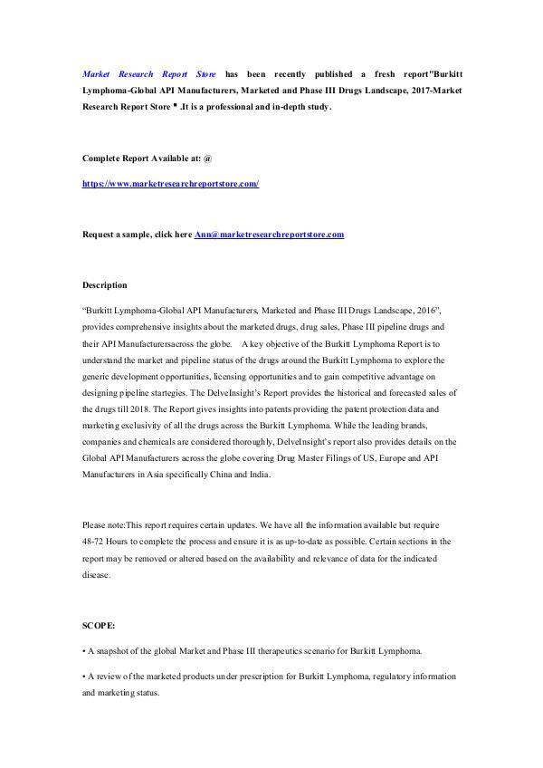 Market Research Report Store Burkitt Lymphoma-Global API Manufacturers, Markete