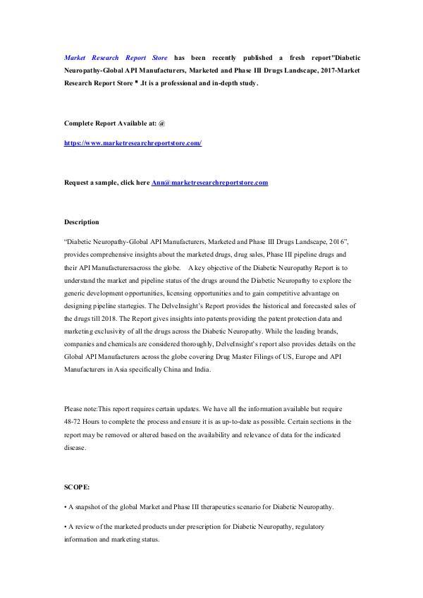 Diabetic Neuropathy-Global API Manufacturers, Mark