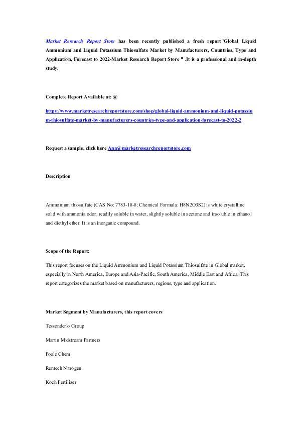 Global Liquid Ammonium and Liquid Potassium Thiosu