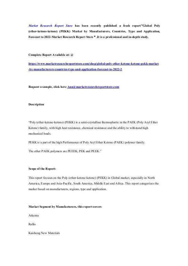 Global Poly (ether-ketone-ketone) (PEKK) Market by