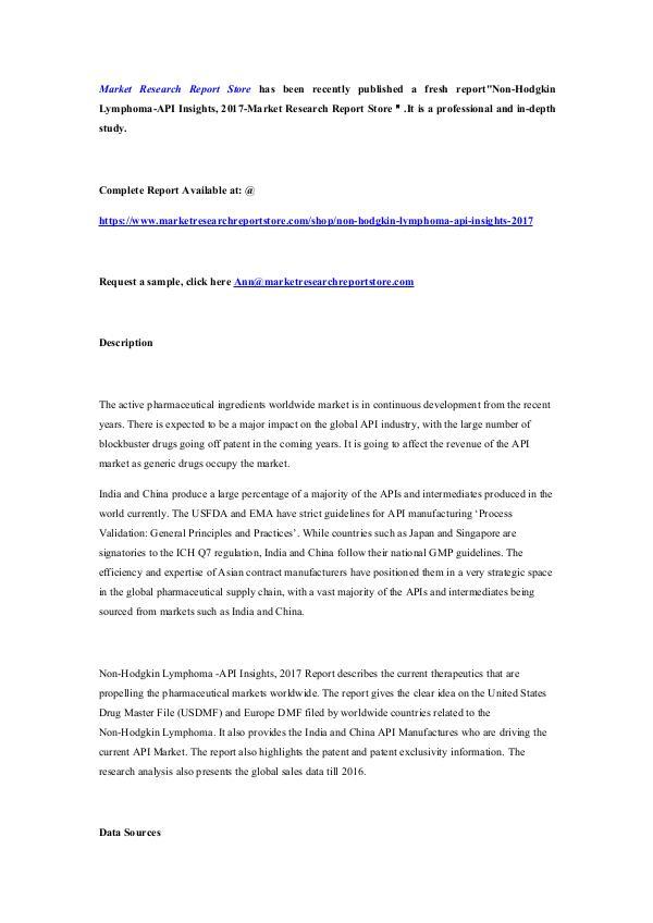Market Research Report Store Non-Hodgkin Lymphoma-API Insights, 2017-Market Res