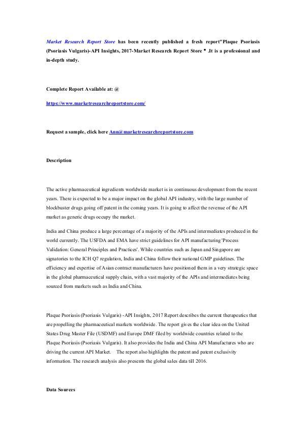 Plaque Psoriasis (Psoriasis Vulgaris)-API Insights