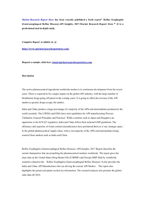 Reflux Esophagitis (Gastroesophageal Reflux Diseas