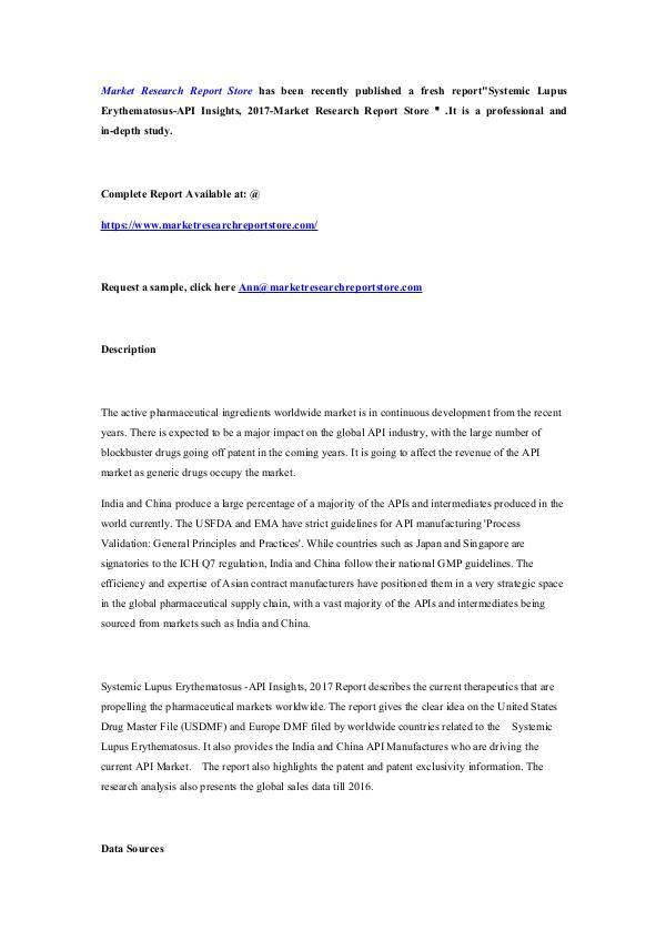 Systemic Lupus Erythematosus-API Insights, 2017-Ma