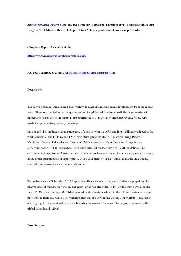 Transplantation-API Insights, 2017-Market Research