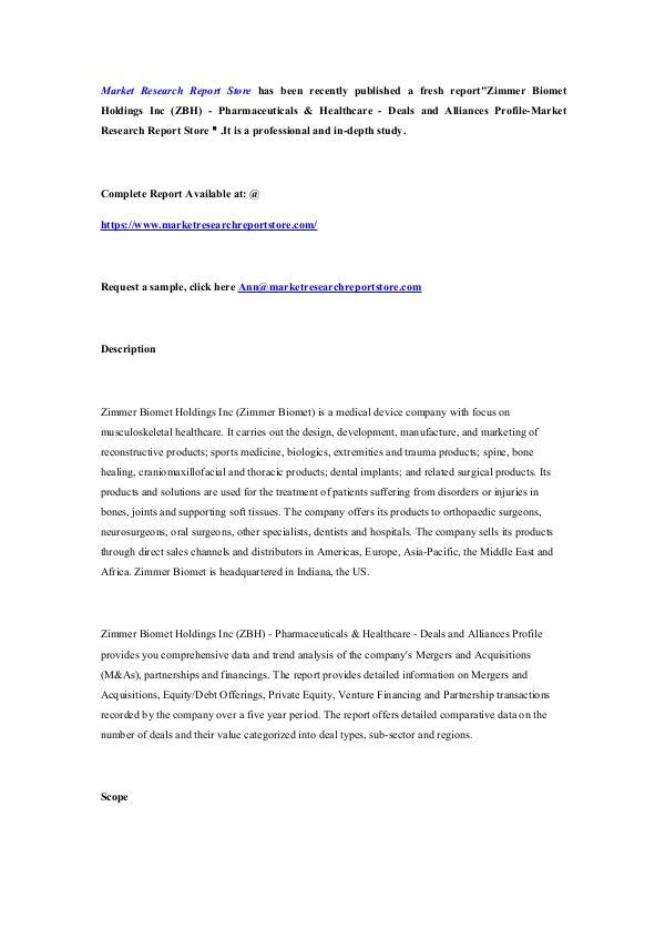 Zimmer Biomet Holdings Inc (ZBH) - Pharmaceuticals