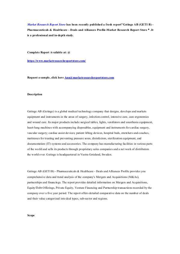 Getinge AB (GETI B) - Pharmaceuticals & Healthcare