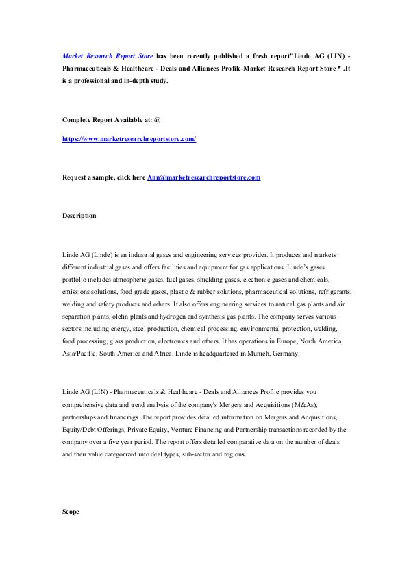 Linde AG (LIN) - Pharmaceuticals & Healthcare - De