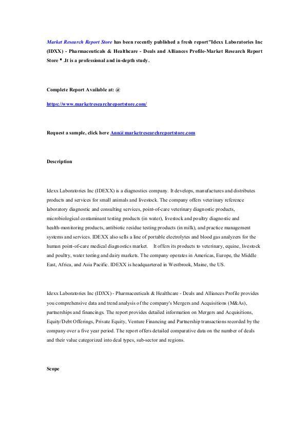 Idexx Laboratories Inc (IDXX) - Pharmaceuticals &