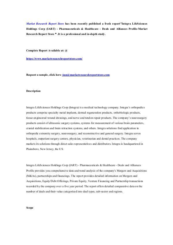 Integra LifeSciences Holdings Corp (IART) - Pharma