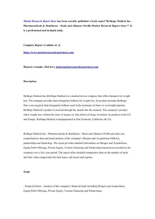 ReShape Medical Inc - Pharmaceuticals & Healthcare