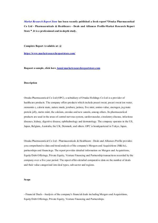 Otsuka Pharmaceutical Co Ltd - Pharmaceuticals & H