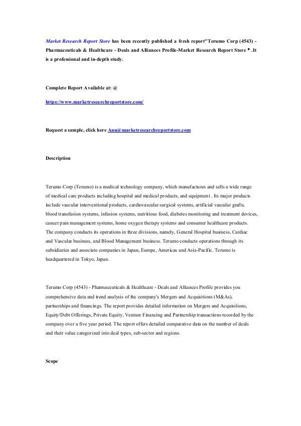 Market Research Report Store Terumo Corp (4543) - Pharmaceuticals & Healthcare