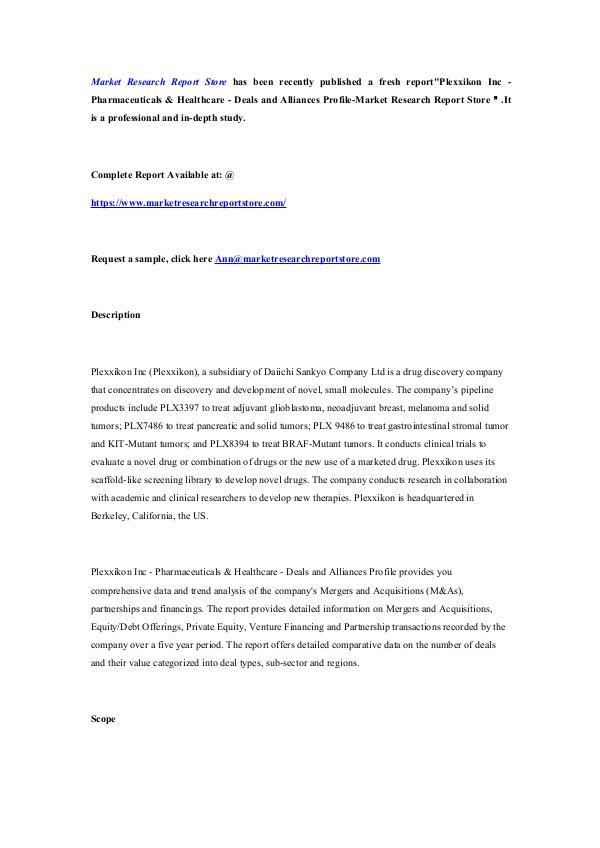 Market Research Report Store Plexxikon Inc - Pharmaceuticals & Healthcare - Dea