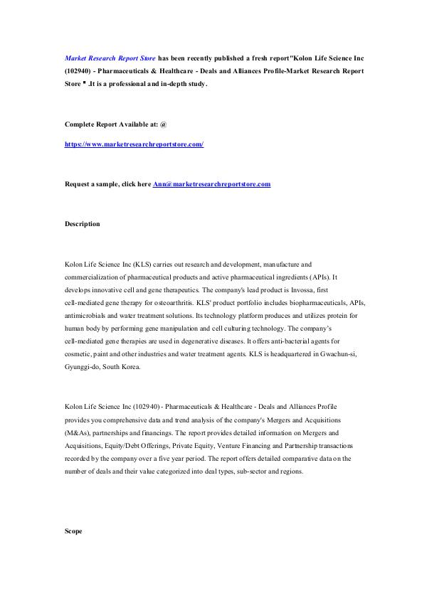 Kolon Life Science Inc (102940) - Pharmaceuticals