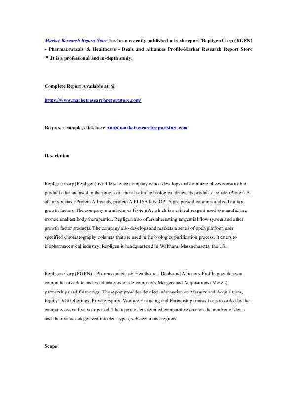 Repligen Corp (RGEN) - Pharmaceuticals & Healthcar