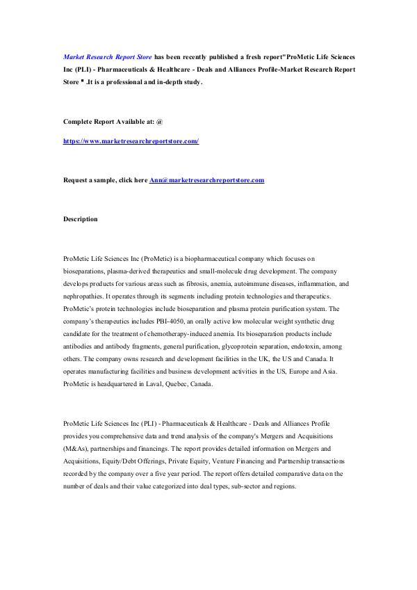 Market Research Report Store ProMetic Life Sciences Inc (PLI) - Pharmaceuticals