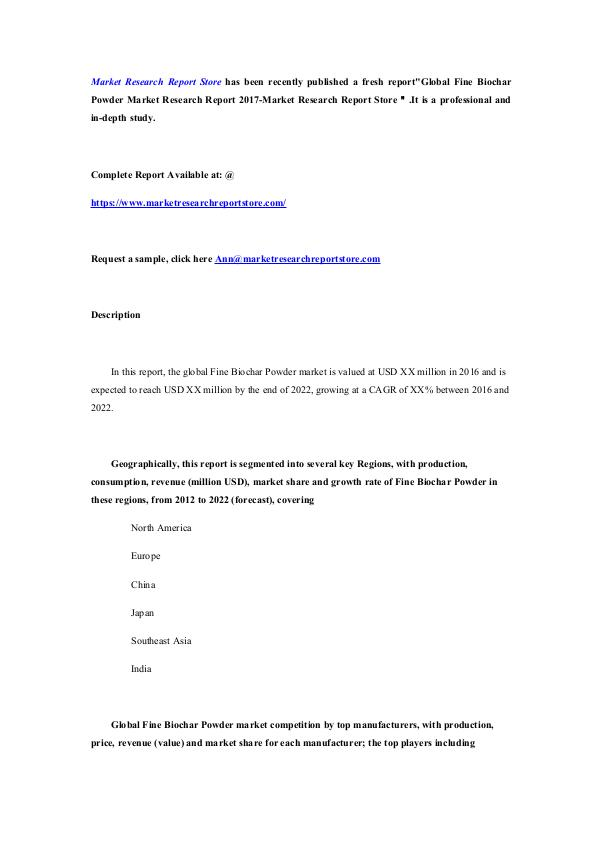 Global Fine Biochar Powder Market Research Report