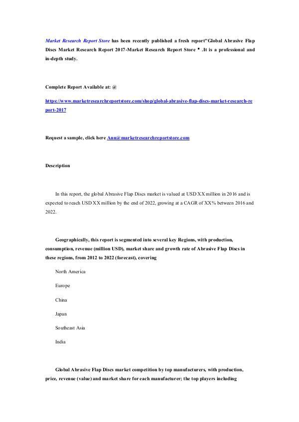 Global Abrasive Flap Discs Market Research Report