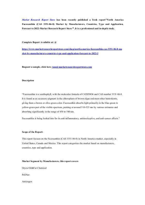 North America Fucoxanthin (CAS 3351-86-8) Market b