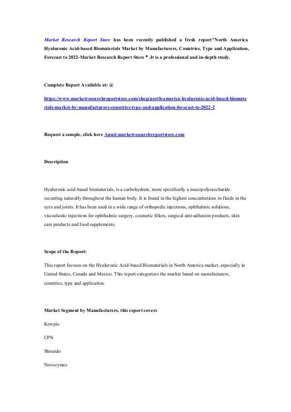 North America Hyaluronic Acid-based Biomaterials M