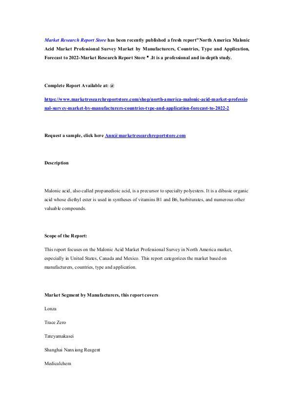 North America Malonic Acid Market Professional Sur