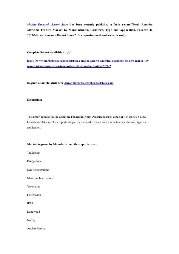 North America Maritime Fenders Market by Manufactu