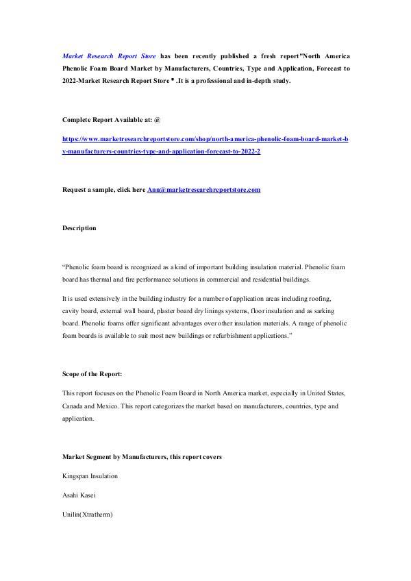 North America Phenolic Foam Board Market by Manufa