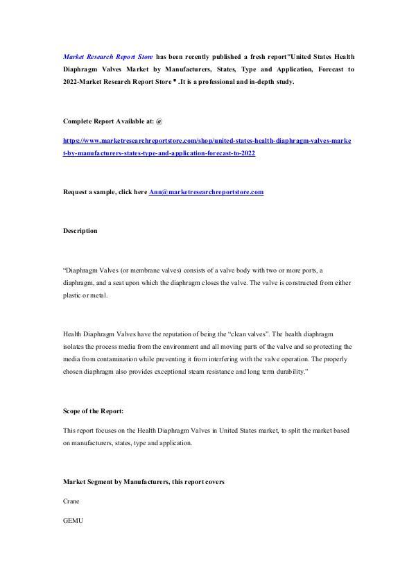 United States Health Diaphragm Valves Market by Ma