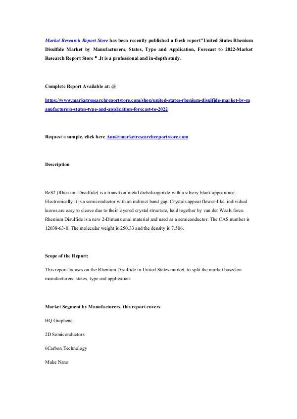 United States Rhenium Disulfide Market by Manufact