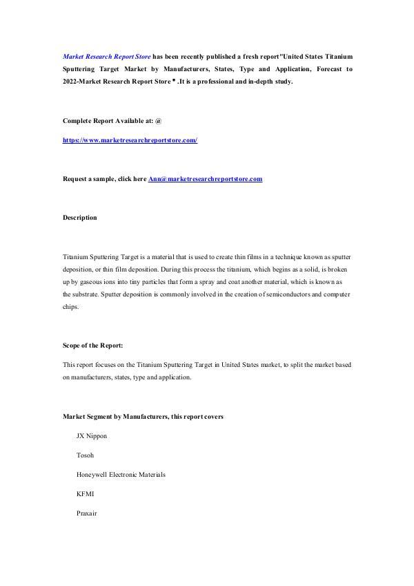 United States Titanium Sputtering Target Market by