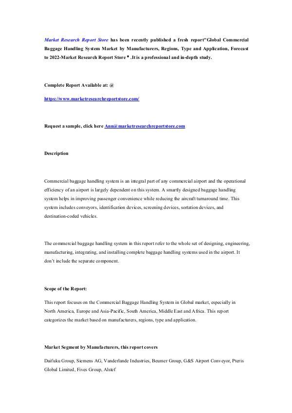 Global Commercial Baggage Handling System Market b