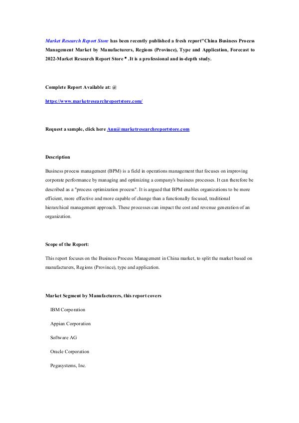Market Research Report Store China Business Process Management Market by Manufa