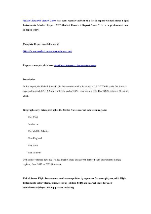 United States Flight Instruments Market Report 201