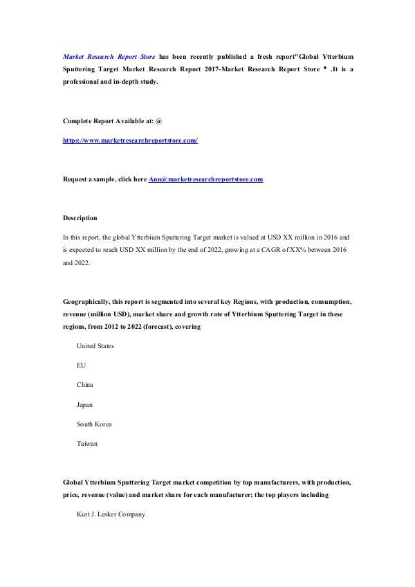 Market Research Report Store Global Ytterbium Sputtering Target Market Research