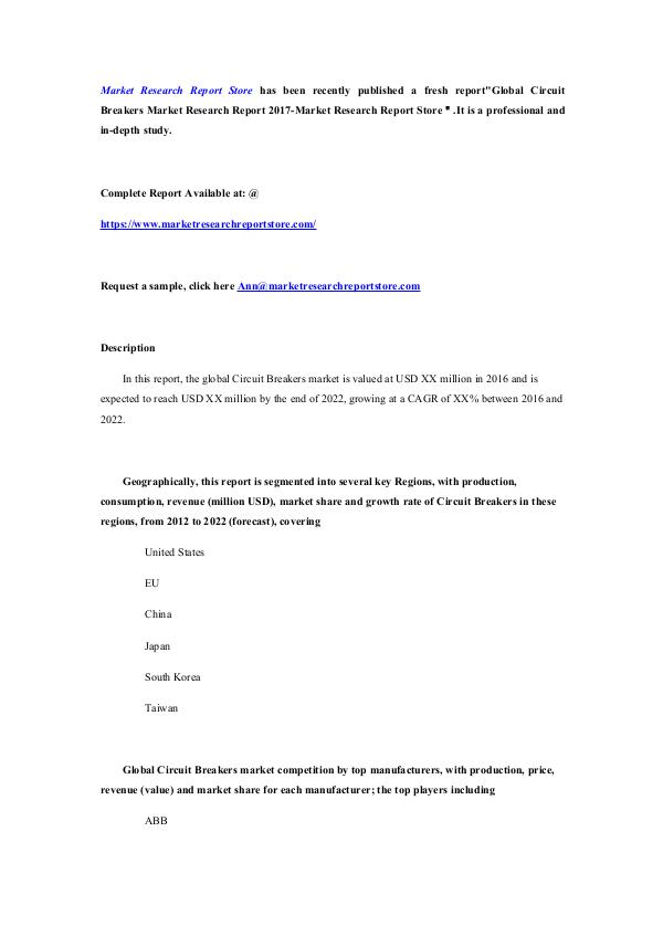 Market Research Report Store Global Circuit Breakers Market Research Report 201