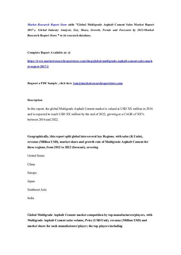 Global Multigrade Asphalt Cement Sales Market Repo