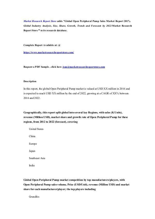 Global Open Peripheral Pump Sales Market Report 20