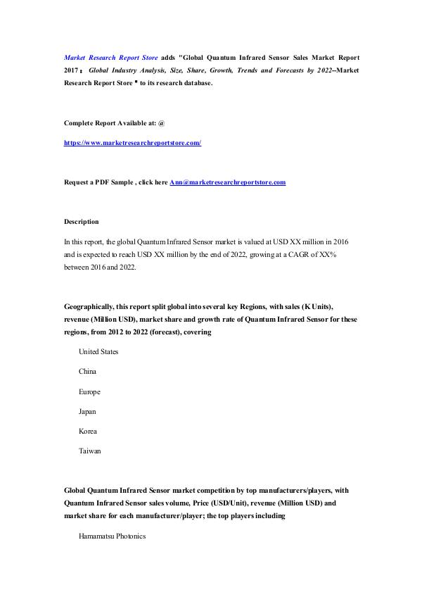 Market Research Report Store Global Quantum Infrared Sensor Sales Market Report