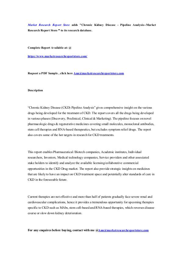 Market Research Report Store Chronic Kidney Disease - Pipeline Analysis--Market