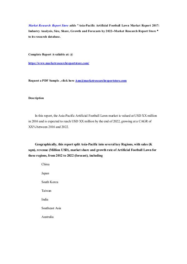 Asia-Pacific Artificial Football Lawn Market Repor