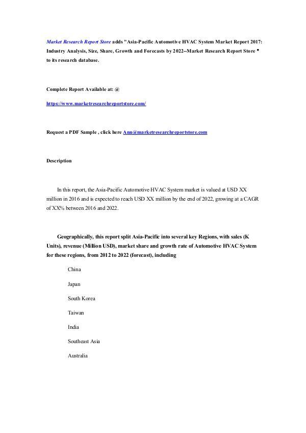 Asia-Pacific Automotive HVAC System Market Report