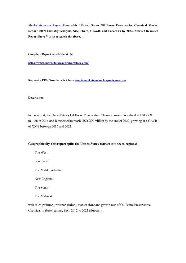 Market Research Report Store United States Oil Borne Preservative Chemical Mark