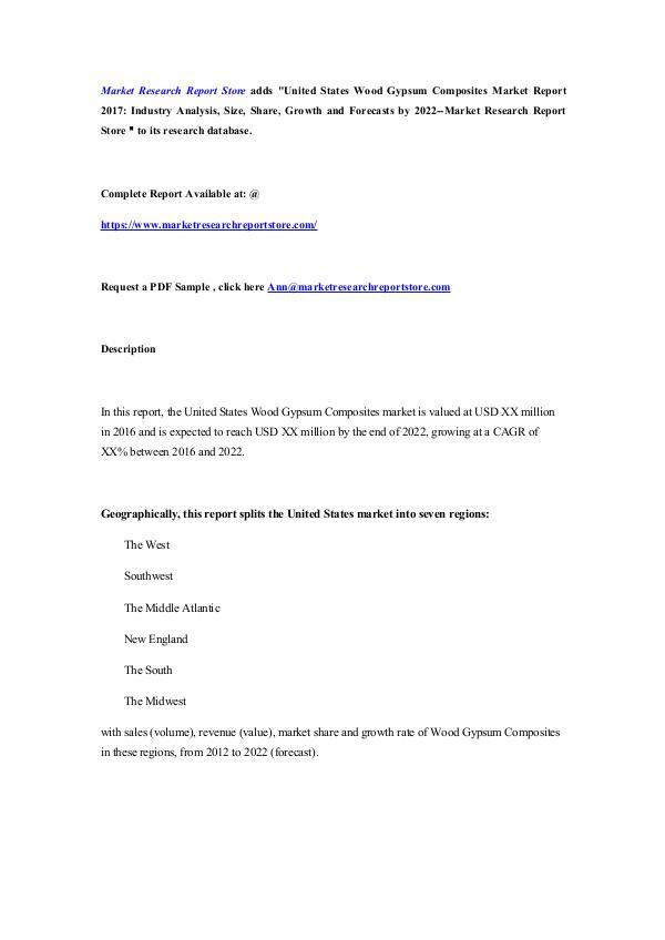 United States Wood Gypsum Composites Market Report