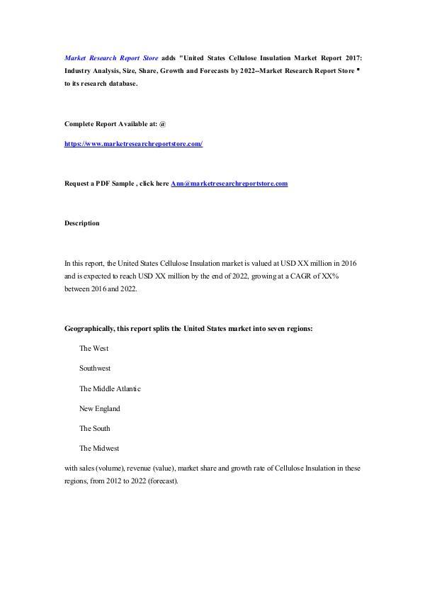 United States Cellulose Insulation Market Report 2