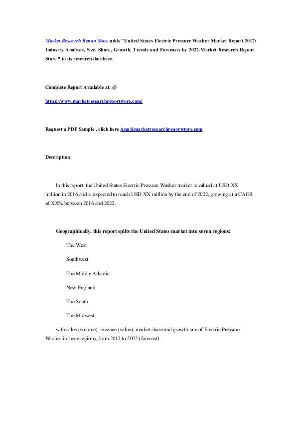 United States Electric Pressure Washer Market Repo