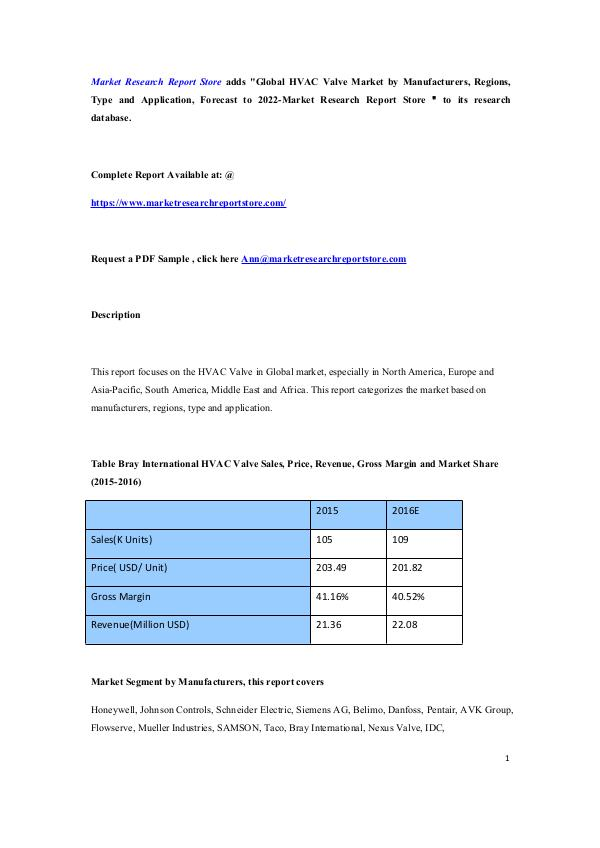 Global HVAC Valve Market by Manufacturers, Regions