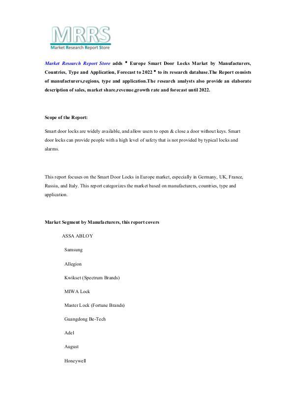 Market Research Report Store  Europe Smart Door Locks Market by Manufacturers, C