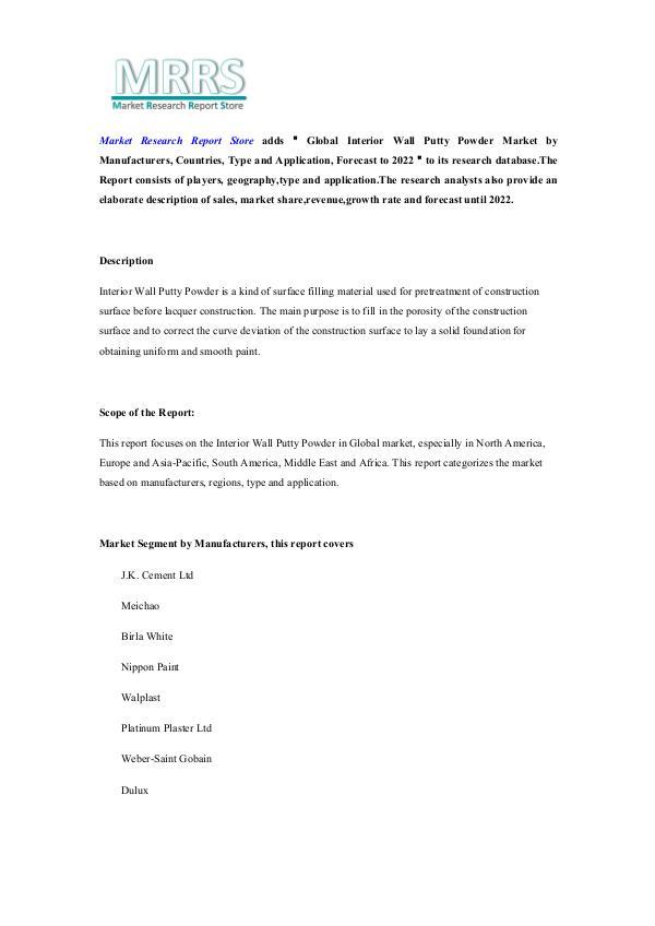 Global Interior Wall Putty Powder Market by Manufa